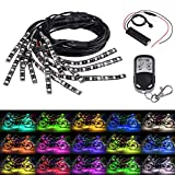 Justech 12 Pezzi Luce Striscia Kit per Interno Auto 126 LED Multicolor RGB Illuminazione al Neon Flessibile Telecomando Wireless per Decorazioni Moto Quad Car Motorhome con Cavo di Prolunga 8pz 90cm