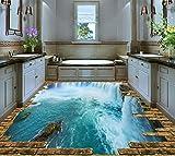 Lqwx Große 3D-Stock Wallpaper Custom Vinyl Bodenbelag Roll Wasserfälle Wasserdicht Rutschfeste Pvc-Aufkleber Dekorative Home 430 Cmx 300 Cm