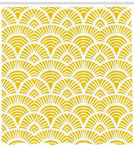 ABAKUHAUS Amarillo Cortina de Baño, Dibujo a Mano Estilo Vintage Patrón Art Noveau Geométrico Escala Retro Japonés, Material Resistente al Agua Durable Estampa Digital, 175 x 180 cm, Amarillo
