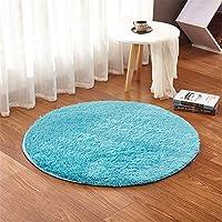 LIYINGKEJI Alfombras Redondas para Niños Alfombras para Niños Juegos Infantiles Sala de Estar Súper Suave Home Shaggy Carpet 60X60 CM (Azul)