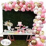 118Pcs Kit de guirnaldas con globos SPECOOL Kit de arcos de globos Rosa blanca y dorada Confeti Lleno de globos de látex Paquete con cinta de globos para cumpleaños...