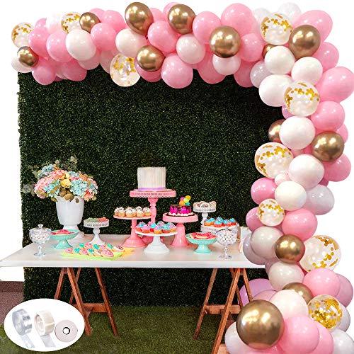 118pcs kit ghirlanda palloncino specool kit arco palloncini rosa bianca e oro confetti palloncini lattice riempito con palloncino nastro per compleanno sfondo di nozze decorazione per feste