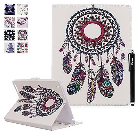 iPad 2 iPad 3 iPad 4 Hülle, Deenor Bunt Painting und Stilvoll Brieftasche Tasche PU Leder Flip Protective Stand Tasche Schutzhülle Hülle für Apple iPad 2 iPad 3 iPad 4 Generation.[Color-Disc and Feathers]