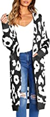 Forthery Women's Open Front Drape Cardigan Sweaters Leopard Knit Coat with Pocket