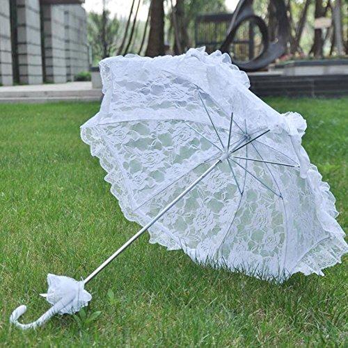 bpblgf Spitze Regenschirm Hochzeit Tuch Kunst Floral Bridal Sommer Sonnenschirm Vintage Baumwolle Bambus Brautjungfer, A, 58*58 (Spitze Sonnenschirm Rüschen)