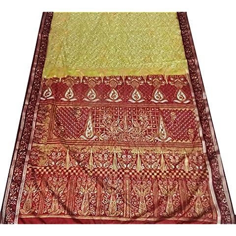 annata sari di seta arte artigianale materiale tenda verde telo usato floreale sarong di stampa Home Decor Donne indiane Abito a portafoglio - Arte Seta Tende
