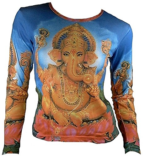 ticila Mujer Camiseta de manga larga Azul Popular Hindu deity Dios God Lord Ganesh Ganesha Mantra Psychodelic Goa Trance DJ Beach Party de tipo Religión Star Diseñador Vintage Tattoo Design azul 36/38