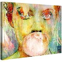 Bubblegum Girl Quadro da parete con stampa artistica su tela, di qualità, motivo: ragazza con gomma da masticare - 100 x 75 cm, XXL, con telaio in legno, ideale come decorazione per soggiorni moderni