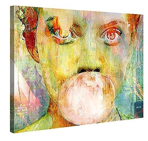 Premium Kunstdruck Wand-Bild – Bubblegum Girl – 100x75cm Leinwand-Druck in