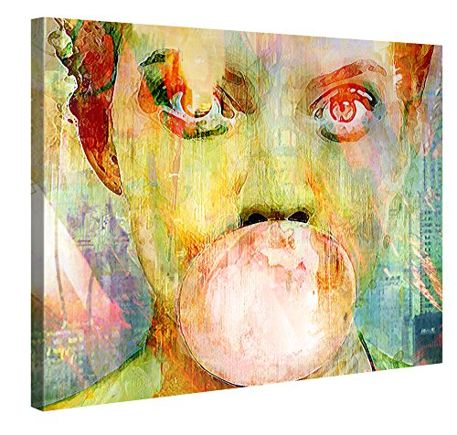 Gallery of Innovative Art Premium Leinwanddruck 100x75cm - Bubblegum Girl - Kunstdruck Von Joe Ganech