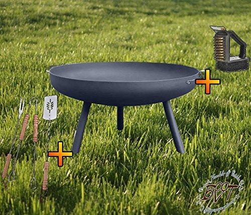 Holzfeuer Feuerschale XL ca. 55cm für Grill, Camping, Garten Lagerfeuer, STAHL LEICHT UND FORMSTABIL, mit runden Füßen, sowie 2 Griffen mit Grillbesteck und Bürste Füße abschraubbar!