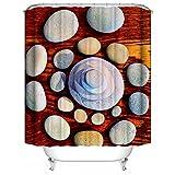 SHENMAHU SHOP Duschvorhang,Kreative Kunst gestapelte Goosestones Benutzerdefinierte Badezimmer Duschvorhang Wasserdicht Polyester Stoff Bad Vorhang 48