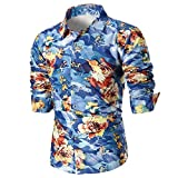 IMJONO Männer Bluse Sommer beiläufige dünne Lange Ärmel Bedruckte Shirt Top (EU-52/CN-2XL,B9-Mehrfarbig)