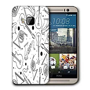Snoogg Black Instruments Printed Protective Phone Back Case Cover For HTC One M9