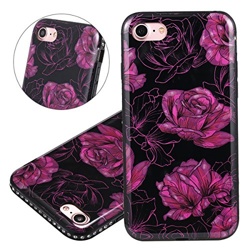 Hülle für iPhone 7, Case Cover für iPhone 7 [Scratch-Resistant] , ISAKEN Glitzer Strass Kristall TPU Silikon Rand Perfect Fit Malerei Muster TPU + PC Protective Schwarz Rückseite Back Case Handyhülle  Blume Rosa