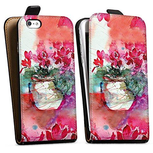 Apple iPhone X Silikon Hülle Case Schutzhülle Gemälde Rosen Blumen Downflip Tasche schwarz