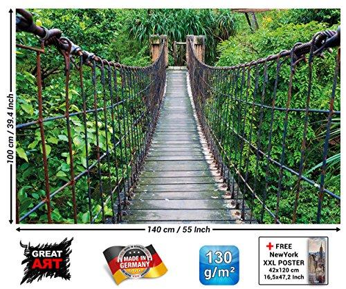 GREAT ART Poster - Hängebrücke - Wandbild Dekoration Dschungel Landschaft Natur Adventure Brücke Regenwald Busch Tropen Urwald Holzbrücke Wandposter Fotoposter Wanddeko Wandgestaltung (140 x 100 cm) -