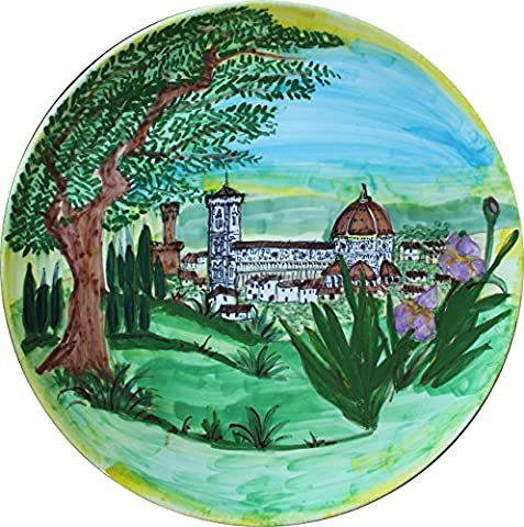 Santa Maria del Fiore à Florence-Plat en céramique décoré à la main diamètre 39,8 cm Fabriqué en Italie, Toscane,