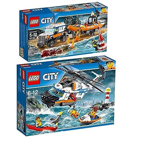 Lego CITY Set en 2 parties 60165 60166 L'unité d'intervention en 4x4 + L'hélicoptère de secours