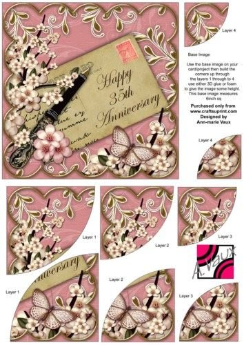 Pink Blossom Happy 35TH Anniversary 6in Duo Corner Stacker by ann-marie Vaux