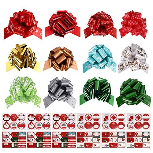 Gifort Noeuds Cadeaux de Noël et Étiquettes Autocollants Cadeaux, 12x Nœuds et Rubans décoratifs avec 90x Cadeau Autocollants Auto-adhésifs, Décoration Fournitures pour Fête et Emballage Cadeau