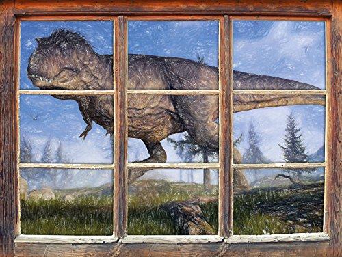 T-Rex Dinosaurier in der Natur Kunst Buntstift Effekt Fenster im 3D-Look, Wand- oder Türaufkleber...