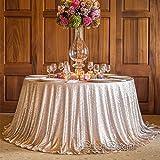 QueenDream Pink Pailletten Tischdecke 182,9cm rund Pailletten Overlay Pink Glitter Tischdecke Pailletten Tischdecke, Qd-champgne, 120