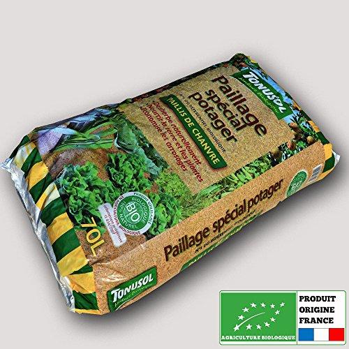 Tonusol - Paillis de chanvre biologique. Paillage spécial potager 70 litres