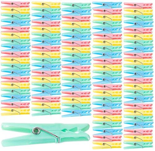 PEARL Wäschklammern: Bunte Wäscheklammern aus Kunststoff, 100 Stück in 4 Farben, 7 cm