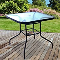 Marko Outdoor Glass Table Square Metal Frame Legs Garden Outdoor Indoor Bistro Cafe Furniture