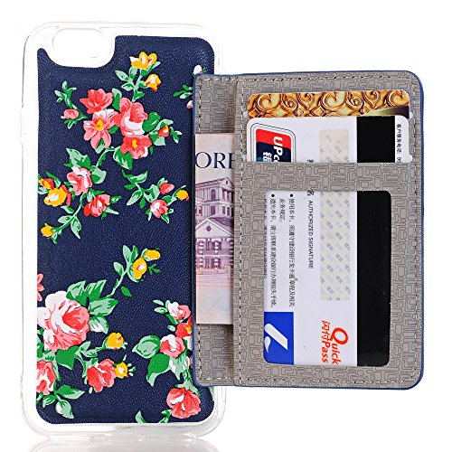 Coque iPhone 6 6S, Sunroyal® iPhone 6 / iPhone 6S Coque de Porte Carte Protection Etui Housse Trasparente TPU Souple Silicone Couvrir Coverture Portefeuille Card Holder Case Back Cover Coquille pour i Pattern 05