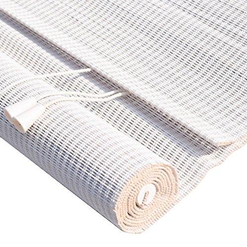 WENZHE Bambusrollo Fenster Sichtschutz Rollos Holzrollo Bambus Raffrollo Schatten Sonnencreme Schlafzimmer Balkon, Bambus, Weiß, 3 Stile, 23 Größen (Farbe : 3#, Größe : 100x120cm)