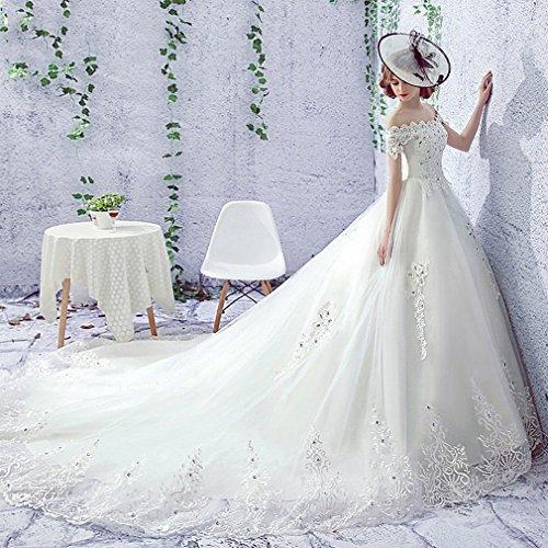 UU Moderne Braut Kleid Hochwertige Wort Hochzeitskleid Poliert Gebürstet Schwanz Braut Brautkleid Weiblich,EIN,L