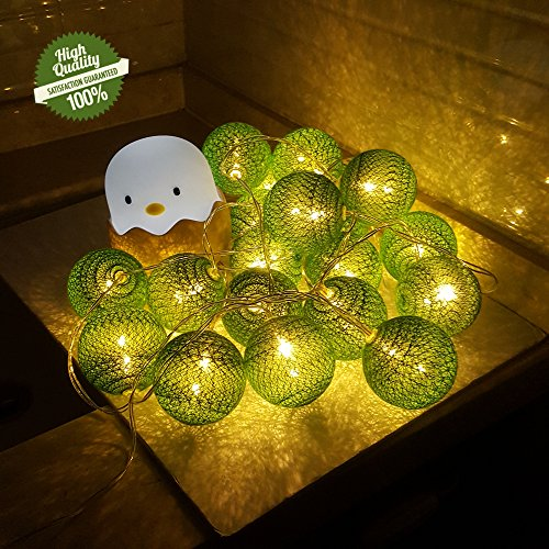 Morbuy LED Lichterkette mit Kugeln, 6CM Baumwollkugeln Mit 10/20/30 Bällen Deko Licht Festlich Hochzeiten Party Cotton Ball Themen Weihnachten Lichterkette Dekorative (1.8m/ 10 Lichter, Grün) (String Lichter Vw)