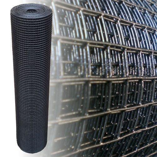 Rete metallica zincata PVC nero Voliere/uccelli Maglia metallica Recinzione giardino Lunghezza 10 m Altezza 100 cm Larghezza maglie 12x12 mm Diametro 1.05mm