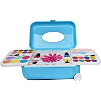 VikriDa Girl's 2 in 1 Cosmetic and Real Makeup Palette with Mirror kit with Trolley for Kids Assorted Color