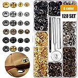 120Ensembles Boutons pression kit 6couleurs en métal Bouton de l'aide de boutons-pression Boutons pression avec outils de 4pièces de fixation 12.5 mm 6 Colors Metal