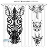 Minicoso Rideaux de Douche Animal Sketch de zèbre Girafe éléphant et têtes de...