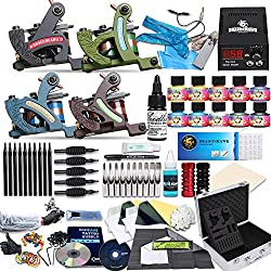Dragonhawk Complete Tattoo Kit 4 Standard Tunings Tattoo Machines 10 Immortal Inks Skin Candy Inks Blue Soap Power Supply 50 Needles Grips Tips D139-1