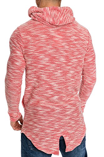 Amaci&Sons Herren Oversize Hochkragen Kapuzenpullover Jacke Sweatshirt Hoodie Sweatjacke Pullover 4015 Rot M - 5