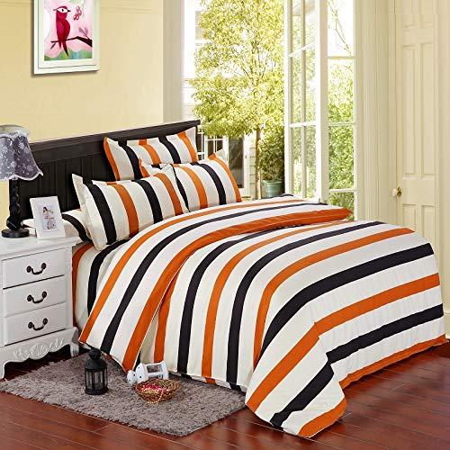 BMLANS Vierteiliges Bett 4Pcs Orange Schwarz WeißStreifenmuster Bettwäsche-Set Sets von, König, 220 * 240cm (Schwarz Bettwäsche König Weiße)