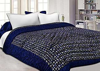 Namaste India Double Bed Size Jaipuri Silk AC Quilt Razai Blanket, Dohar with Gold Prints Double Bed Quilt/Comforter Winter Quilt - Blue