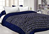 #6: Namaste India Double Bed Size Jaipuri Silk AC Quilt Razai Blanket, Dohar with Gold Prints Double Bed Quilt/Comforter Winter Quilt - Blue