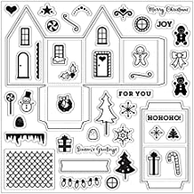"""Fiskars Clear Stamps 8""""X8""""-Tiny Little Gingerbread House"""