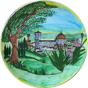 Santa Maria del Fiore in Florenz - dekorierte Keramikplatte von hand Durchmesser 39,8 cm Made in Italien, Toskana, Lucca. Zertifikat.