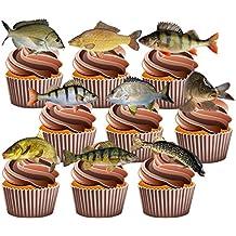 Peces Party Pack, decoraciones de tartas–36–Comestible stand-up Cupcakes