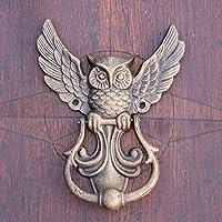Antikas - aldaba búho - aldaba antigua para puertas - aldaba búho de color bronce-antiguo