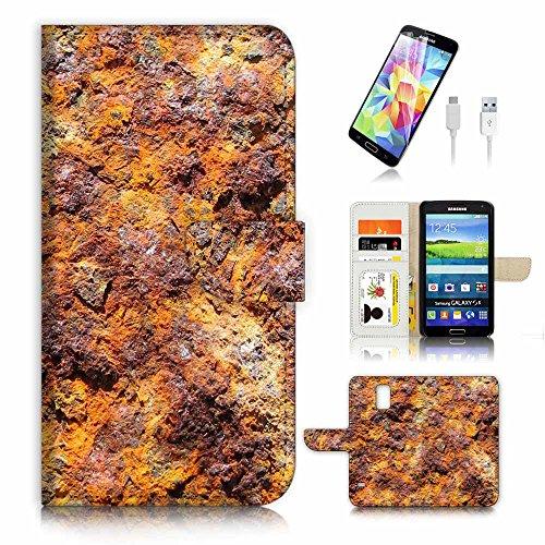 (für Samsung Galaxy S5) Flip Wallet Case Cover & Displayschutzfolie & Ladekabel Bundle. A3361Eisen Mineral - Mineral Eisen