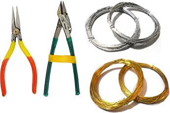 AM 737089080 Jewelry Making Pliers and Wires Combo (Gold and Silver)