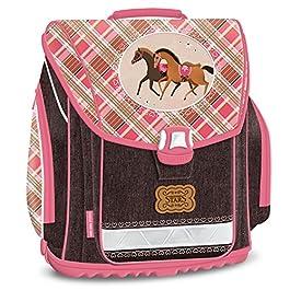 15 pezzi. Set per Scuola, motivo: Cavalli – cartella + Bottiglia + Porta Pranzo + astuccio + portapenne + Portafoglio + sacco con laccetti